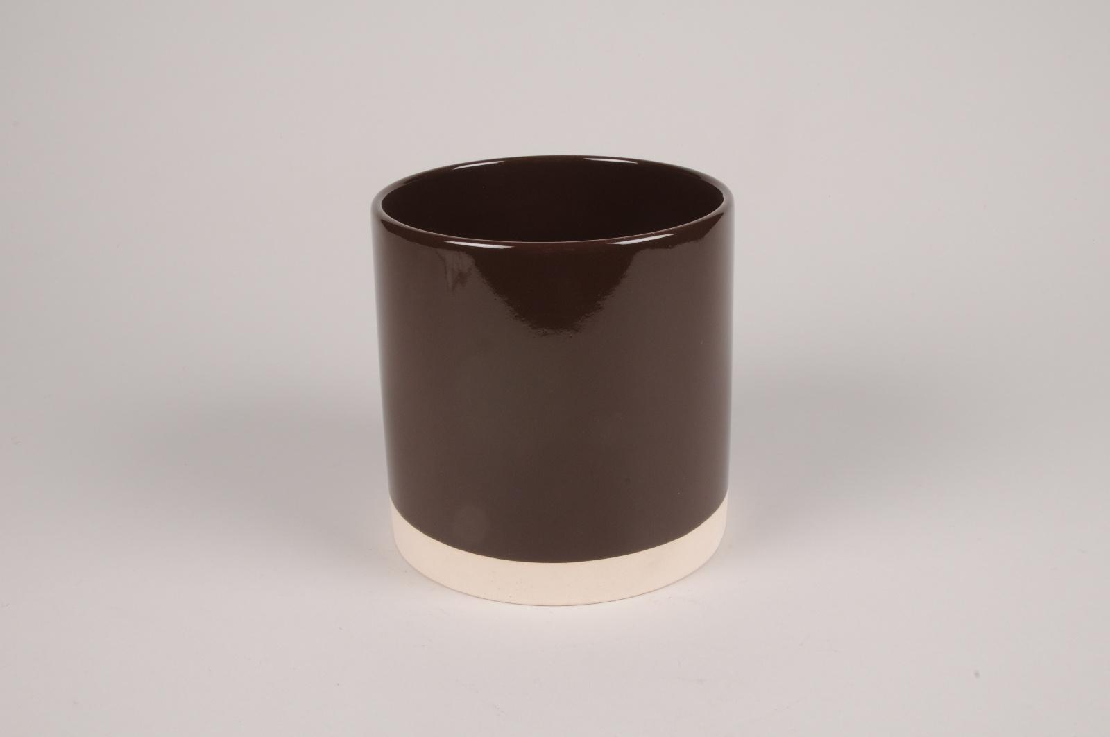 A035AA Cache-pot en céramique chocolat D15cm H15cm