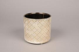 Cache-pot en céramique crème et or D14cm H13cm