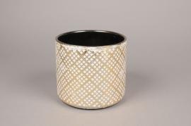 A017I4 Cache-pot en céramique crème et or D16cm H15cm