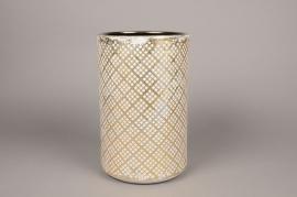 Cache-pot en céramique crème et or D19cm H30cm