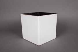 Planter ceramic cube white 11x11 H11cm