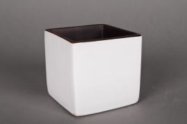 Planter ceramic cube white 18x18 H18cm