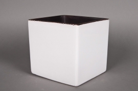 Planter ceramic cube white 26x26 H26cm