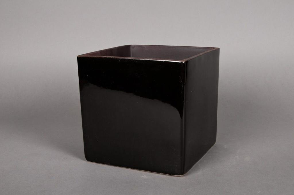 Cache-pot en céramique cube noir 11x11 H11cm