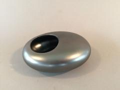 A089YX Cache-pot en céramique galet noir argenté 13.5 x 11cm H5cm