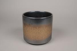 A021I4 Cache-pot en céramique gris D18cm H17cm
