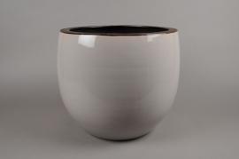 A193QS Cache-pot en céramique gris D25cm H25cm