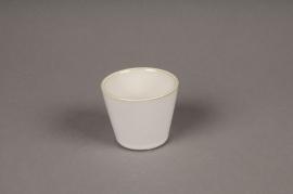 B397WV Cache-pot en céramique ivoire D7cm H6cm