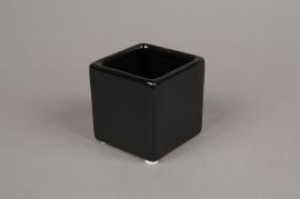 A032OF Cache-pot en céramique noir 7x7cm H7cm