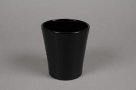 A061PP Cache-pot en céramique noir D13cm H14cm