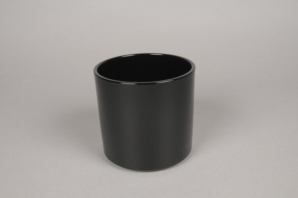 A028DO Cache-pot en céramique noir D14cm H13cm