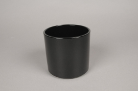 A028DO Cache-pot en céramique noir D14cm H13cm