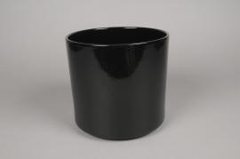 A029DO Cache-pot en céramique noir D16cm H15cm