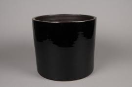 A164QS Cache-pot en céramique noir D26cm H29cm