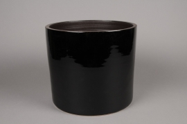 A164QS Black ceramic planter D26cm H29cm