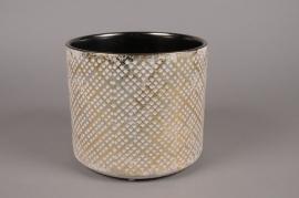 A018I4 Cache-pot en céramique or avec motifs D21.5cm H19.5cm
