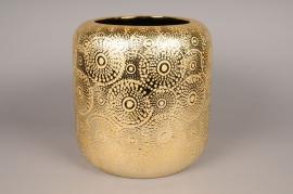 A130VO Cache-pot en céramique or avec motifs D30cm H32cm
