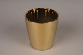 A002W1 Gold ceramic planter D13cm H13.5cm