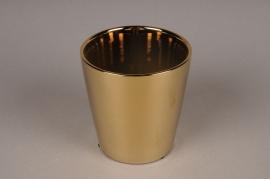 A002W1 Cache-pot en céramique or D13cm H13.5cm