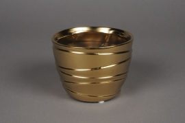 A117UD Cache-pot en céramique or mat D12cm H9cm