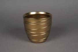 A119UD Cache-pot en céramique or mat D17cm H15.5cm