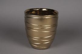 A115UD Cache-pot en céramique or mat D18cm H19cm
