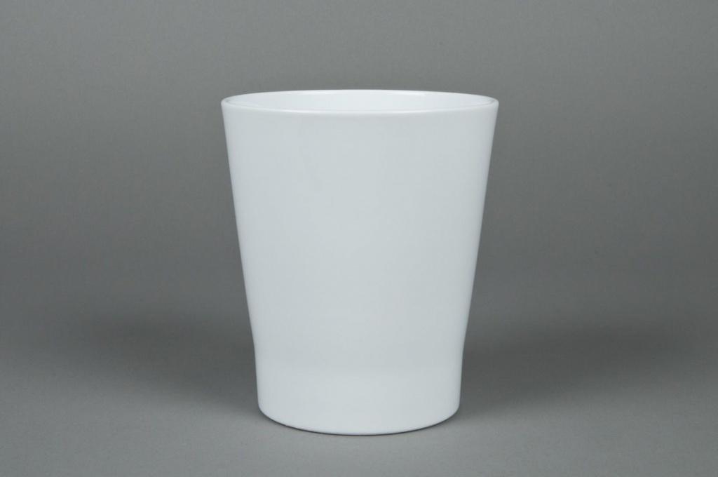 Cache-pot en céramique Orchidée blanc D14 H15cm