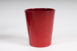Cache-pot en céramique rouge D14 H15cm