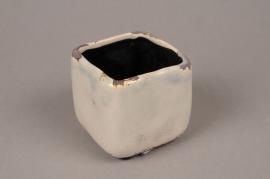 A198U7 Cache-pot en céramique taupe 7cm x 7cm H7cm