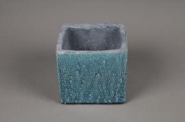 A501QB Turquoise ceramic planter 15cm x 15cm H13cm