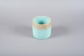 Cache-pot en céramique turquoise D15cm H13.5cm