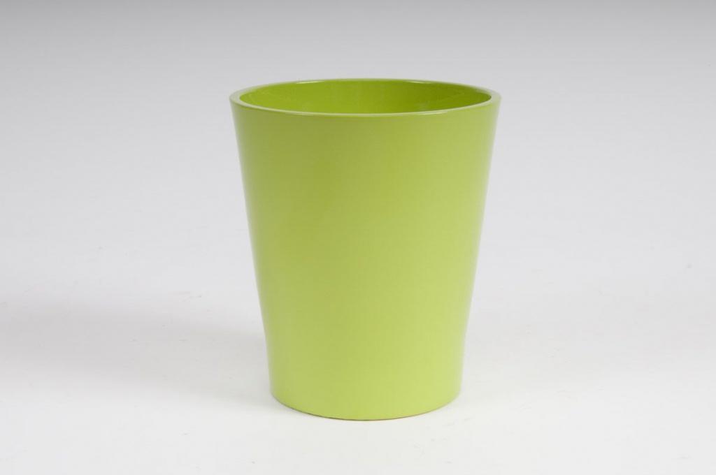 Cache-pot en céramique vert D14 H15cm