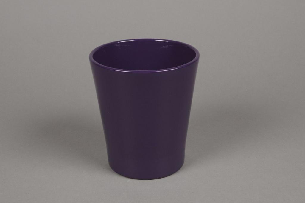 Cache-pot en céramique violet D13cm H14cm