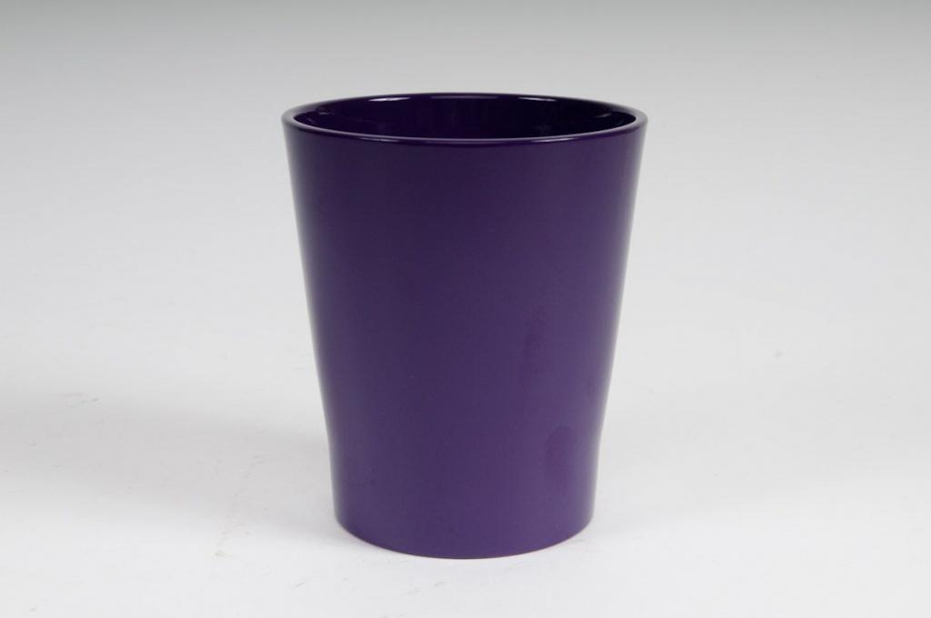 Cache-pot en céramique violet D14cm H15cm