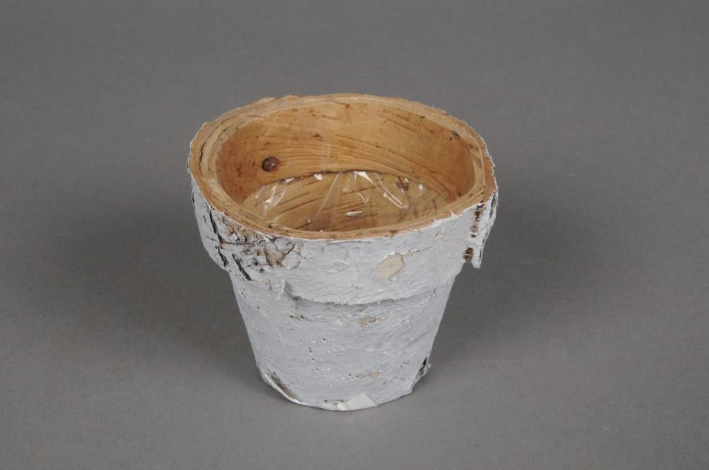 A092DZ Cache-pot en écorce bois blanchi D8cm H6.5cm