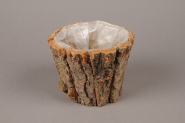 A225U7 Cache-pot en écorce de bois D14cm H11.5cm