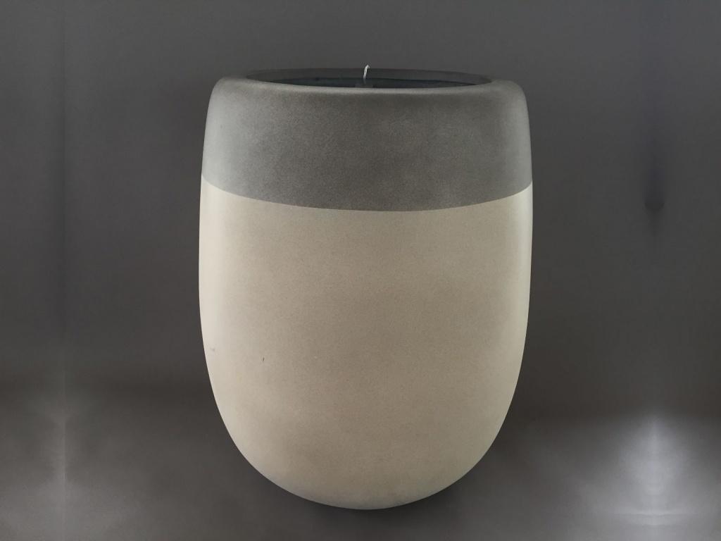 A152LC Cache-pot en fibre ciment blanc gris D54cm H66cm