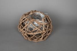 Cache-pot en osier boule ajouré D25 H21cm