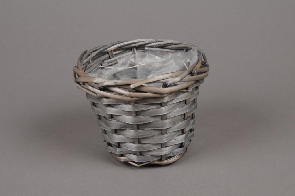 A062MZ Cache-pot en osier gris D13 H11cm