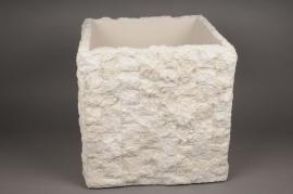A156AO Cache-pot en pierre blanc 40x40cm H40cm