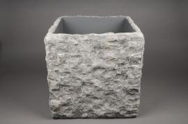 A155AO Cache-pot en pierre gris 40x40cm H40cm