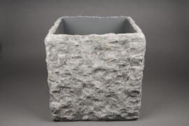 A153AO Cache-pot en pierre gris 50cm x 50cm H50cm