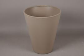 A110H7 Cache-Pot en plastique rotomoulé taupe D40cm H49cm