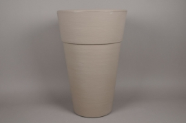 A116H7 Cache-Pot en plastique rotomoulé taupe D50cm H77cm