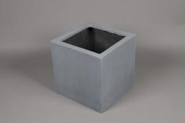 A001LE Cache-pot en polystone gris 30cm x 30cm H30cm