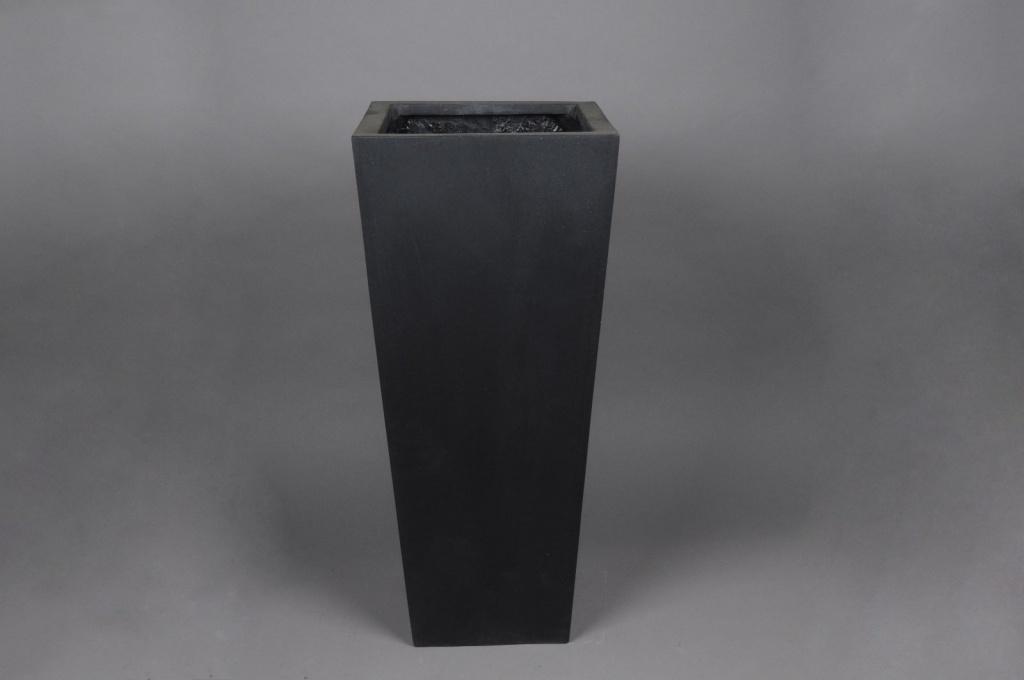 A001LC Cache-pot en polystone noir 42x42cm H100cm