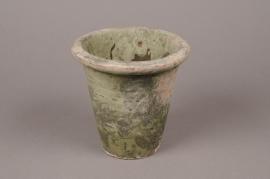A003BZ Cache-pot en terre cuite vert D14cm H13cm