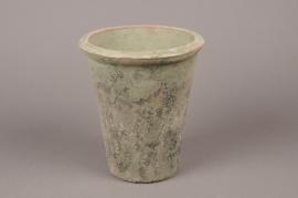 A005BZ Cache-pot en terre cuite vert D16cm H18cm