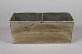A039A9 Cache-pot en zinc argent vieilli 12cm x 25cm H10cm