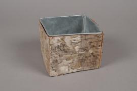 A107DZ Cache-pot en zinc avec écorce 13cm x 13cm H11cm